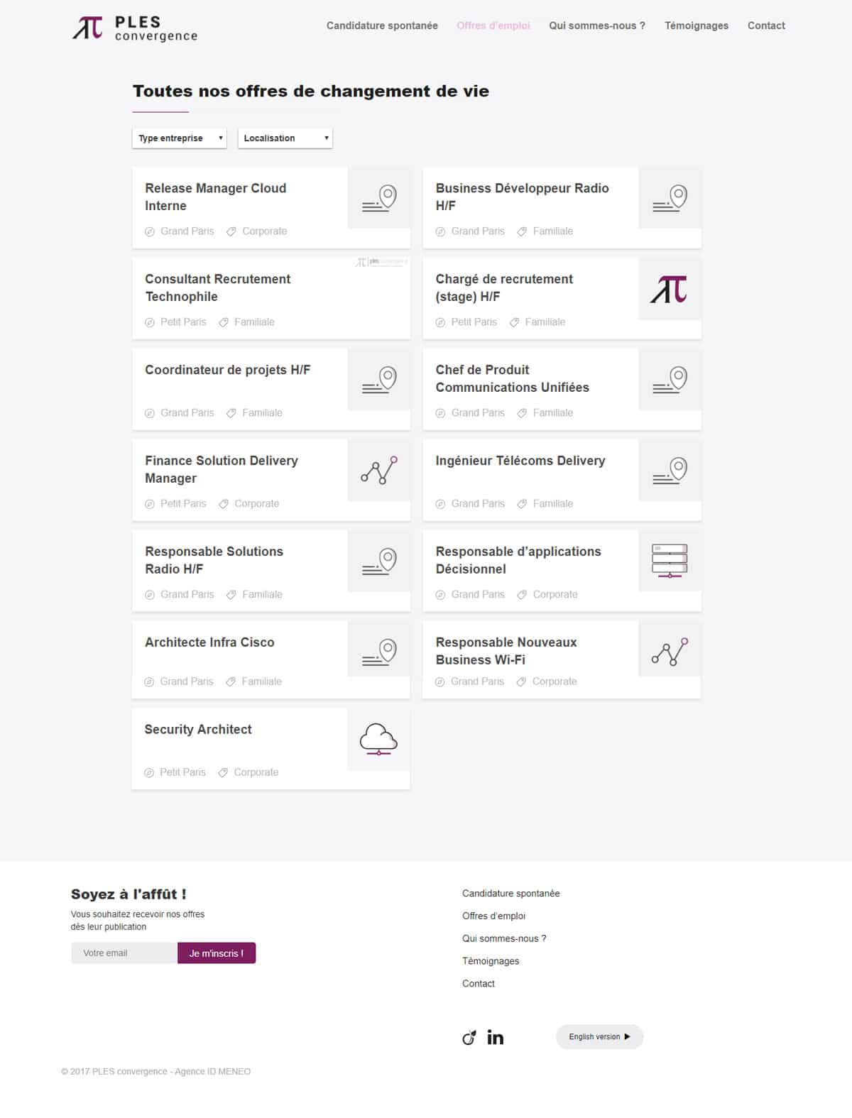 Screenshot Ples Convergence, cabinet de recrutement